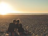 Paar am Ostseestrand von Usedom