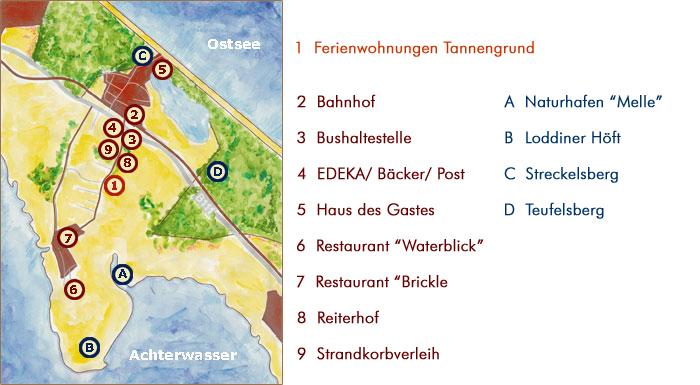Insel Usedom Karte.Karte Des Seebades Kölpinsee Loddin Usedom Ferienwohnungen